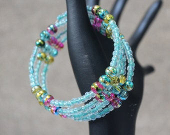 Coil Bangle in Sea Green with Foil Beads