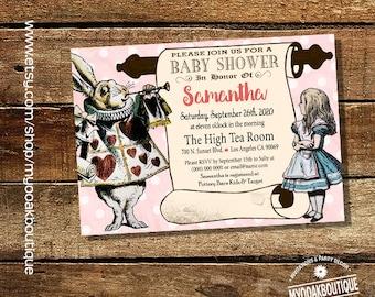 Baby Shower distress pink vintage Alice wonderland Rabbit invite any occasion digital printable invitation 14064