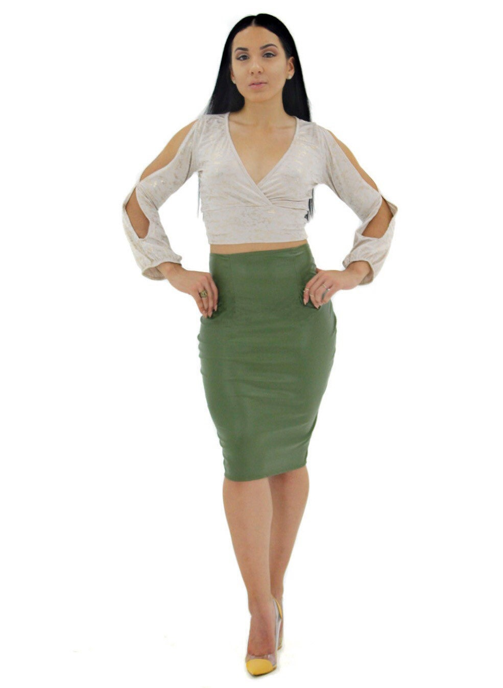 olive green stretch vegan faux leather midi skirt by