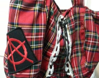 Punk rock red plaid hand bag with Anarchy patch