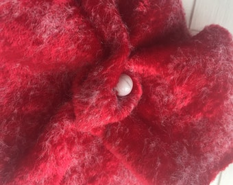Red felted brooch,velveteen scarf brooch-purse pin,hair clip red,soft brooch,needle felted brooch.gift for her,dress brooch,
