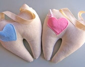 Tooth Fairy Pillow with wool felt pocket, pink, blue, linen, cotton fabrics used, fairy, tooth fairy