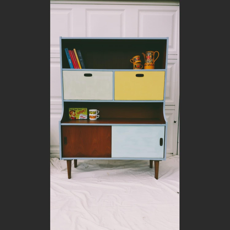 Cool Retro Vintage Wooden Cabinet Bureau With Sliding