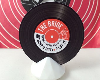 Wedding/ Party Name Place Cards - Vinyl Record Inspired Design
