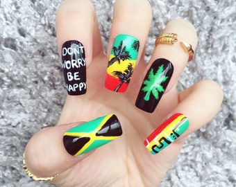 NAILED IT! Hand Painted False Nails - Caribbean