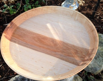 Hand Turned Rustic Woods Serving Platter, Country Center Piece - Service ware ***FREE SHIPPING***