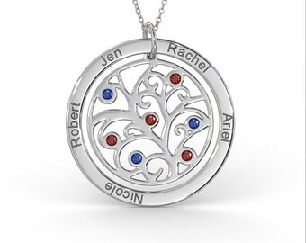 Family Tree Necklace with Birthstone in Sterling Silver (1.0mm Thick)