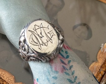Silver Signet Ring with Engraved Monogram