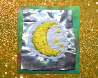 Celestial Patch, Moon And Stars Patch, Handmade Embroidered Patch