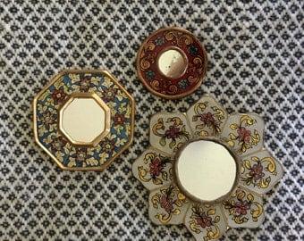 Vintage Mid Century /Hollywood Regency Wood Gold Gilt And Enamel Mirror - Chinoiserie- Set of Three