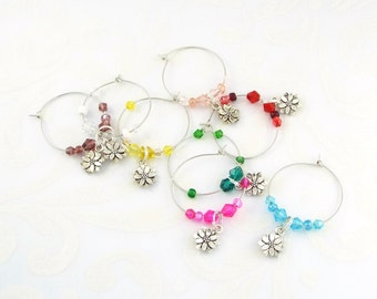 Flower Wine Glass Charms Drink Markers - Set of 8, Glass Beads