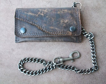 Postapocalyptic real leather tobacco pouch