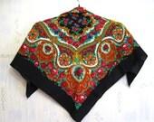 Russian Ukrainian Floral Shawl Scarf Vintage,  wool, Soviet Union / USSR, 1980s, Soviet Souvenir