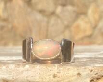 US 8.25 Ethiopian Opal Silver Ring, Opal Gemstone Sterling Silver Oval Stone Ring, Gemstone Ring, Silver Gemstone Stone Ring