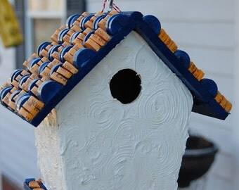 Blue and Orange Wine Cork Bird House