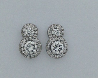 Sterling Silver Cubic Zirconia Stone Earring