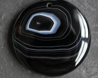 Black & White Banded Agate Gemstone Pendant - 53mm