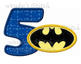 batman applique number 5 machine embroidery design