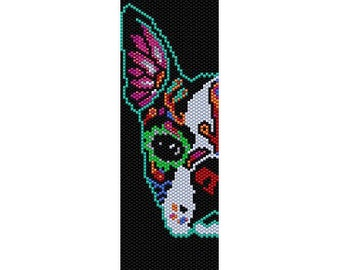 Instant Download Beading Pattern Peyote Stitch Bracelet Day of The Dead Dog Seed Bead Cuff