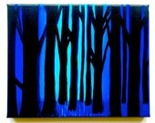 Original Glowing Blue Forest Landscape Acrylic Painting