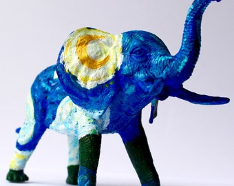 Original Hand-painted Van Gogh Inspired Elephant Statuette - One-of-a-kind Starry Night Upcycled Animal Toy