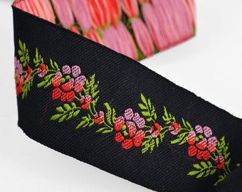"2 Yards 1-3/8"" Flower Jacquard Ribbon Trim, Black, SP-2331"