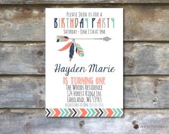 Tribal Birthday Party Invitation, Aztec Birthday Party Invitation, Tribal Invitation, Tribal Birthday Invites, Instant Download, Editable