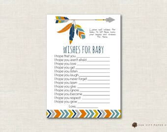 Tribal Wishes for Baby Card, Tribal Wishes for Baby, Well Wishes for Baby, Tribal Wishes for Baby, Boho, Baby Shower Wishes for Baby, DIY