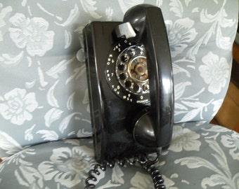 Vintage Wall Telephone Black, Phone, dial phone