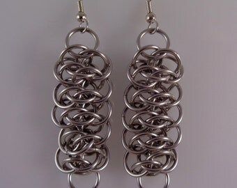 Stainless Steel Viperscale Chainmail Earrings; Viper Scale Chainmaille Earrings; Dangling Chain Maille Earrings