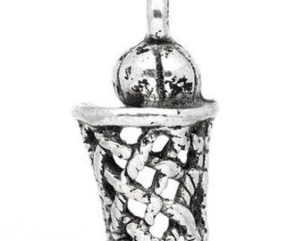 3 - 3D Antique Silver Basketball with basketball hoop Charms