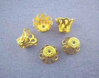30 - Gold Tone Filigree Bead Caps