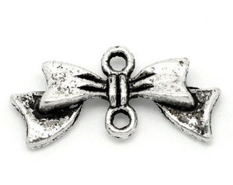 20 - Antique Silver Bow Tie Charm Connectors