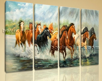 """Large Art Canvas Print Animals Horses Painting Picture Printed Canvas Home Decor, Horse Canvas Art, Large Giclee Print, 51""""X36"""""""