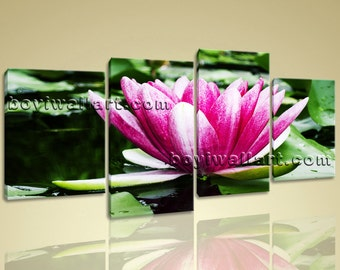 """Large Contemporary Wall Art Mural Print Canvas Waterlily Flower Living Room, Water Lily hd print,  art print, 67""""x36"""""""