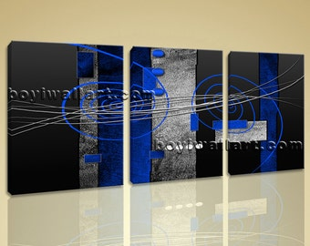 """Large Stretched Modern Abstract Painting Home Decor Wall Art Print Canvas Blue, Abstract hd print,  giclee prints, 50""""x24"""""""
