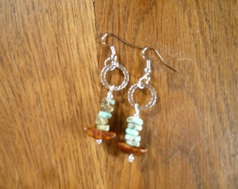 green turquoise, wood and silver earrings