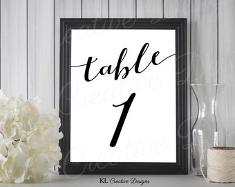 Classic Black and White Printable Table Numbers 1-20, Table Number Printable, Wedding Printable, Reception Printable, INSTANT DOWNLOAD
