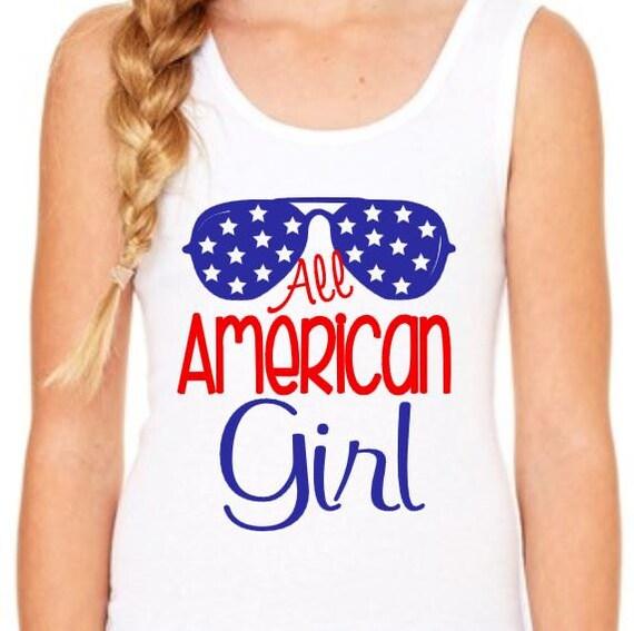 Fourth Of July Tank All American Girl Cute Holiday Tshirt