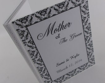 Wedding Photo Album Personalized wedding brag book wedding favor bridal party Mother of the Bride Groom black damask 4x6 or 5x7 picture 212
