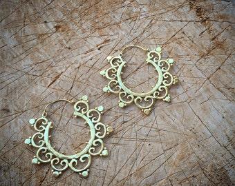 Tribal Earrings brass earrings boho chic jewelry art of goddess boho earrings wedding earrings
