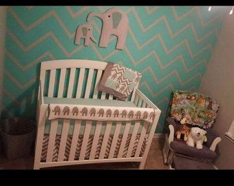 Elephant Crib Bedding Set Gray Chevron