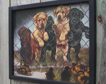 Wood Framed Tin Sign, Five Cute Labrador Puppies, Dogs, Ducks, Hunting, 17 1/4 by 13 1/2 inches., Free Shipping