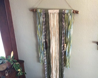 Up-cycled, Fabric Wallhanging with feathers -- Handmade Wall Decor --
