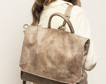 """BEIGE Leather Backpack, School Backpack, Rucksack, 17"""" Laptop Backpack, Messenger bag, SALE 50 Dollars OFF!"""