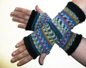 Knit Fingerless Gloves Arm Warmers Wrists Warmers Mittens Striped Wool Multicolored Women Gloves Boho