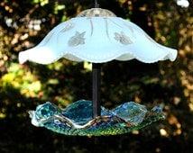 Glass bird feeder - hanging glass garden art - carnival glass birdfeeder