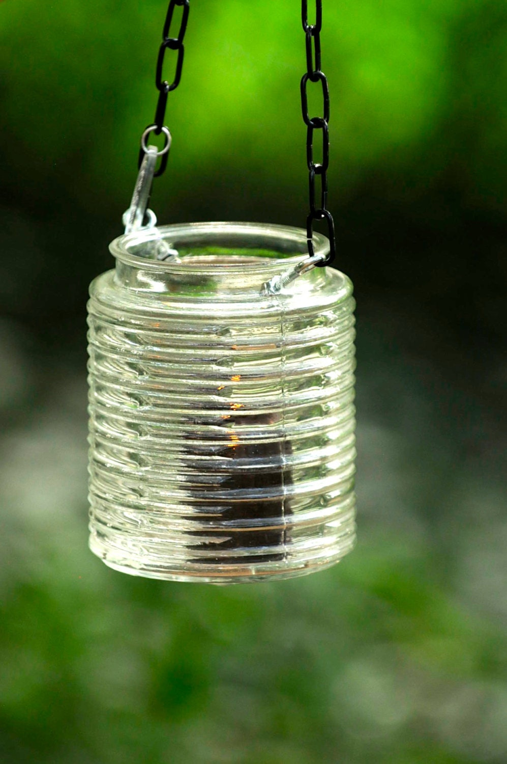 Glass candle holder hanging mason jar light by stellaerwins for Alternative candle holders