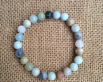 Amazonite with Moss Agate Bracelet