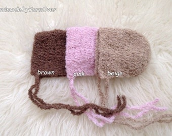 Crochet natural wool Bonnet - Newborn Photography Props- Baby Crochet  Hat